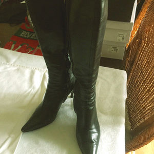 Sergio Rossi Tall Leather Boots Black